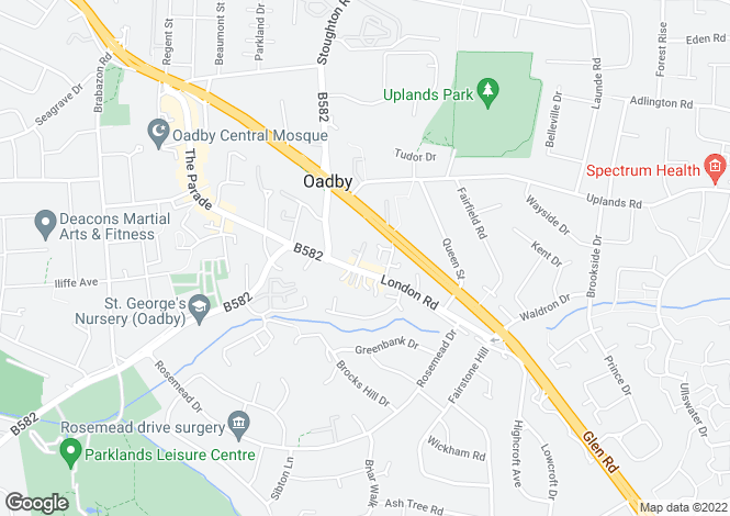 Map for London Road, Oadby, LE2