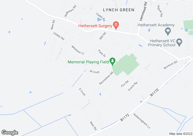 Map for Flowerdew Close, Hethersett, Norwich, NR9