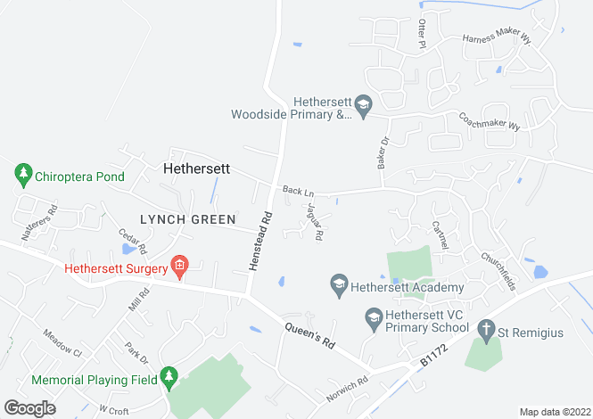 Map for Vulcan Close,hethersett, Norwich, Norfolk, NR3 3QR