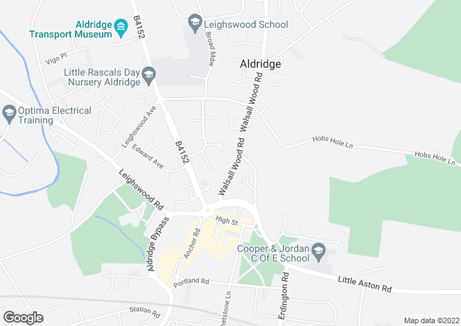 Map for Walsall Wood Road, Aldridge, Walsall