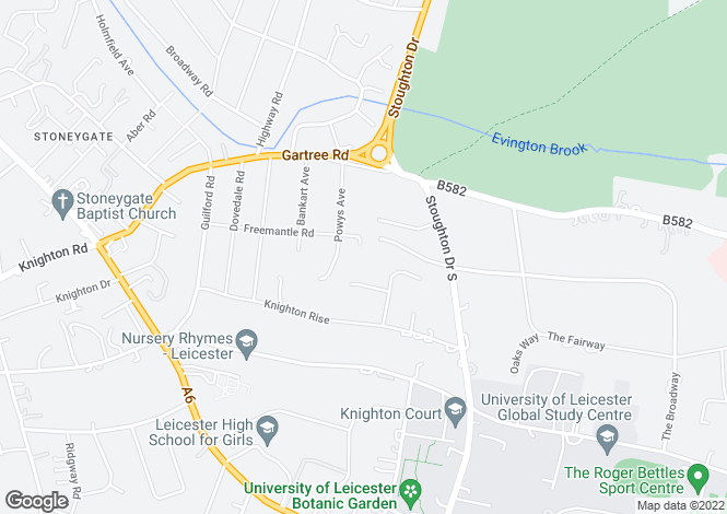 Map for Powys Gardens, Oadby, Leicester, LE2