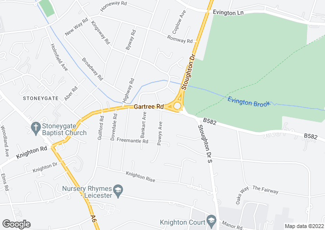 Map for Gartree Road, Leicester