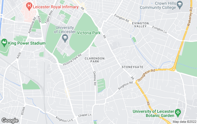 Map for Project Student, Leicester