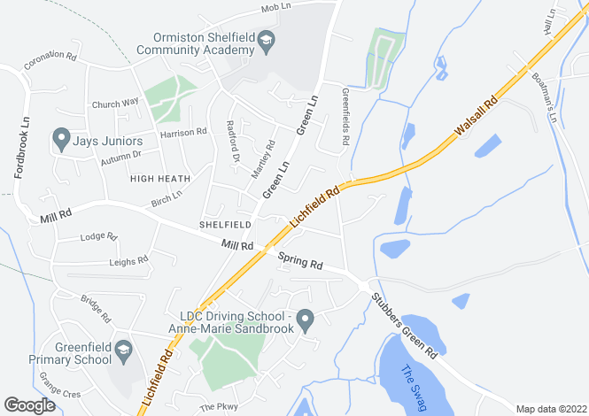 Map for Lichfield Road,Shelfield,Walsall