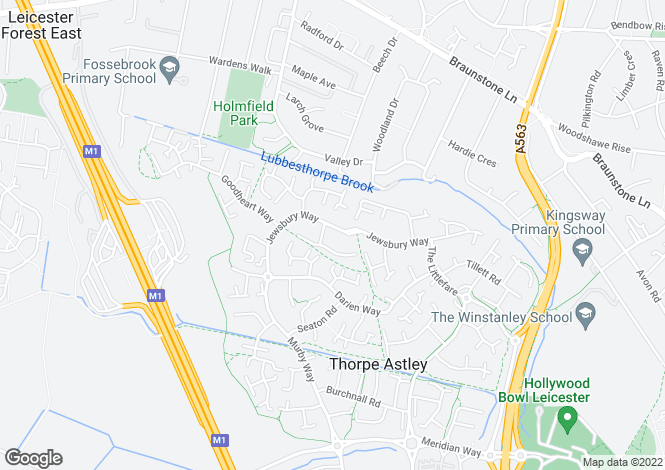Map for Jewsbury Way, Thorpe Astley LE3 3RR