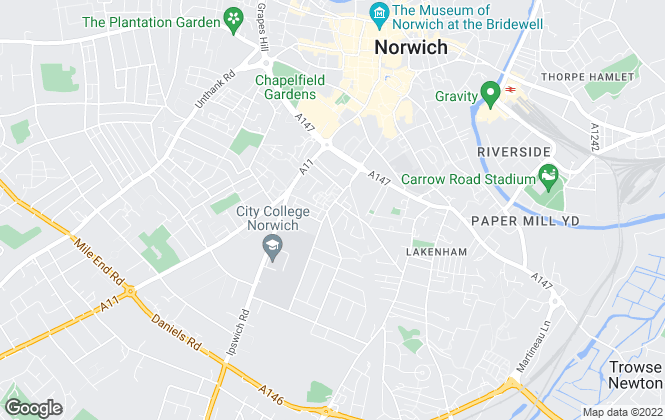 Map for Reality Estate Agents Ltd, Norwich