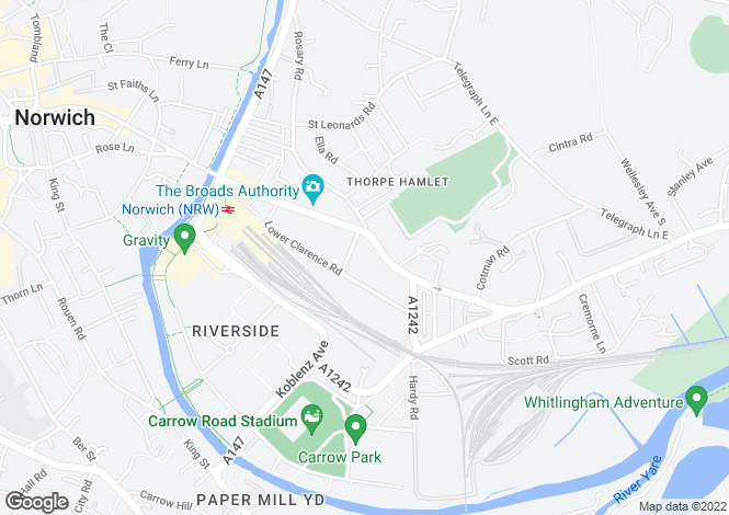 Map for Thorpe Road, NORWICH