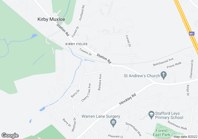 Map for Barry Drive, Kirby Muxloe