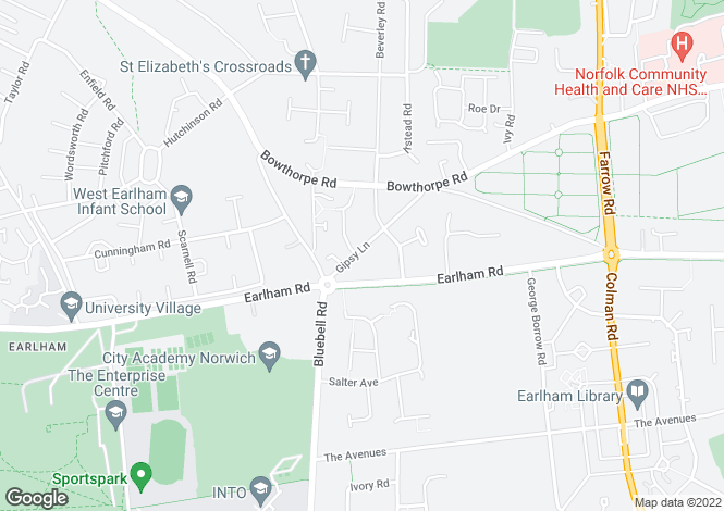 Map for Gipsy Lane,Norwich,NR5