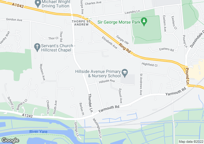 Map for Hillside Close<br>Hillside Avenue<br>off Thunder Lane, Norwich