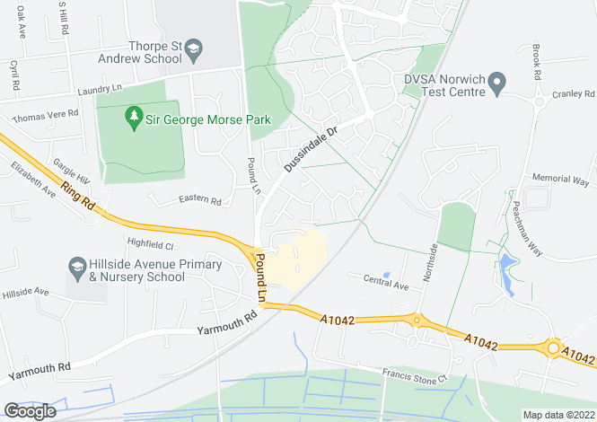 Map for Mary Chapman Close, Dussindale, Norwich, Norfolk, NR7 0UD