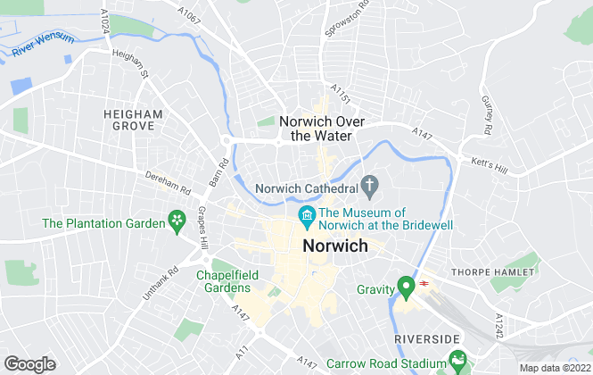 Map for Brown & Co Online Auctions, Norwich