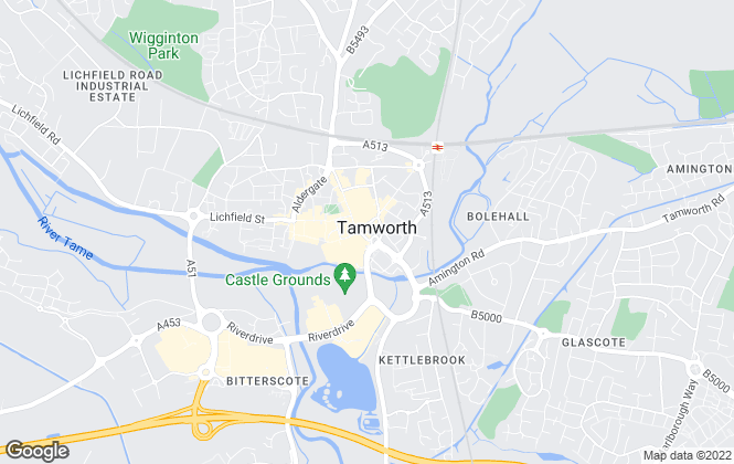 Map for Burchell Edwards, Tamworth