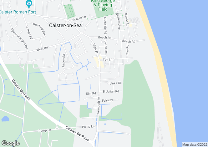 Map for Caister on Sea, Great Yarmouth, Norfolk