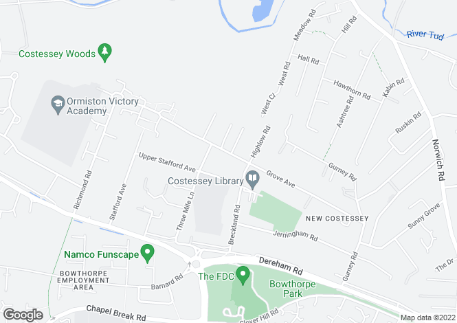 Map for Grove Avenue, New Costessey, Norwich, Norfolk