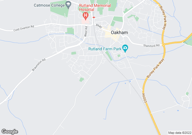 Map for Brooke Road, Oakham, Rutland, LE15