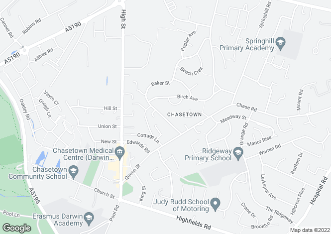 Map for Baker Street, Chasetown, Burntwood