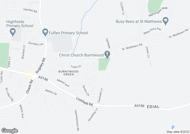 Map for Canterbury Drive, Burntwood WS7 9JX, Staffordshire