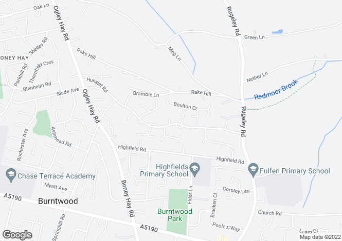Map for Hunslet Road, Burntwood  WS7 9LF, Staffordshire
