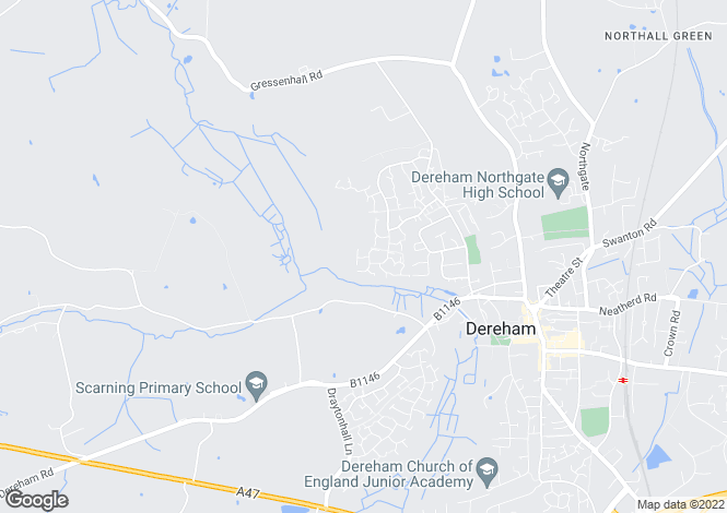Map for Wallace Close, Dereham, Norfolk