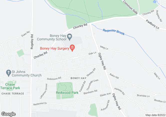 Map for Birch Terrace, Boney Hay, Burntwood
