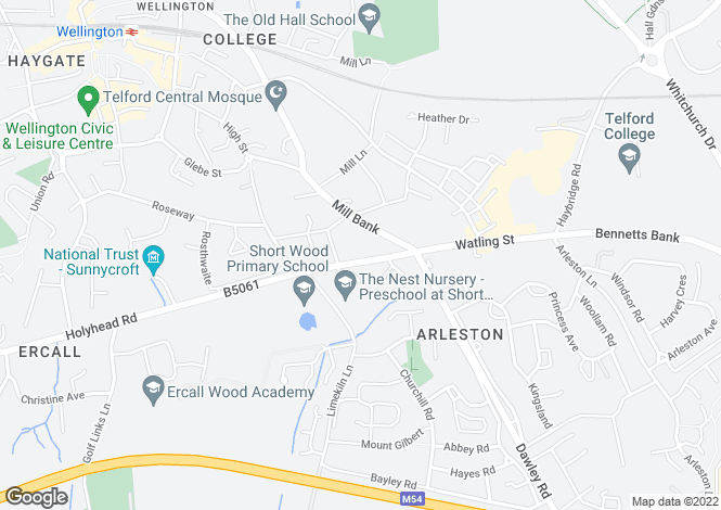 Map for Holyhead Road, Wellington, TELFORD, TF1