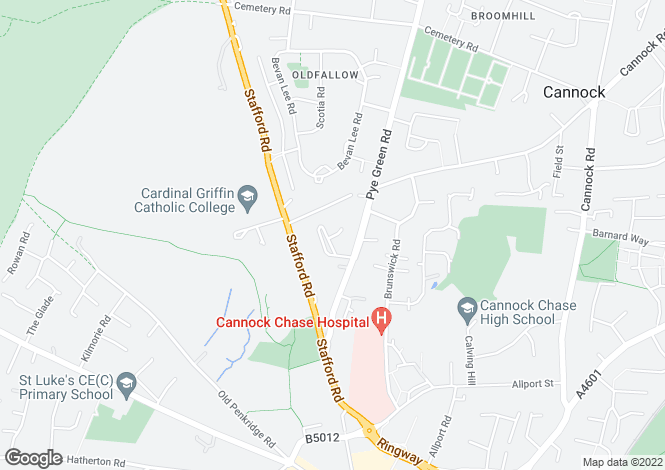 Map for Southbourne Place, Cannock WS11