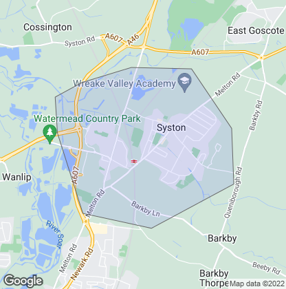 Map of property in Syston