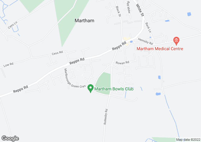 Map for Playing Field Lane, Martham, Great Yarmouth
