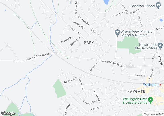 Map for 52 Wrockwardine Road, Wellington, Telford, Shropshire