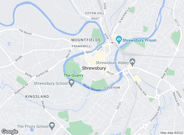 Map for Shropshire Lettings, Shrewsbury