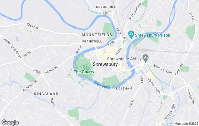 Map for Barbers, Shrewsbury