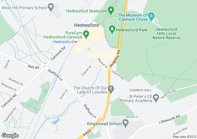 Map for Woodland Court, Cannock, WS12