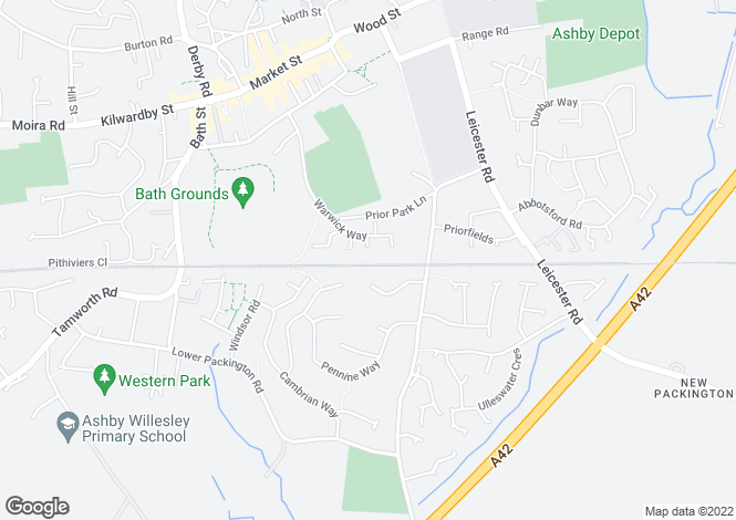 Map for Kenilworth Drive, Ashby De La Zouch, Leicestershire, LE65 1XB