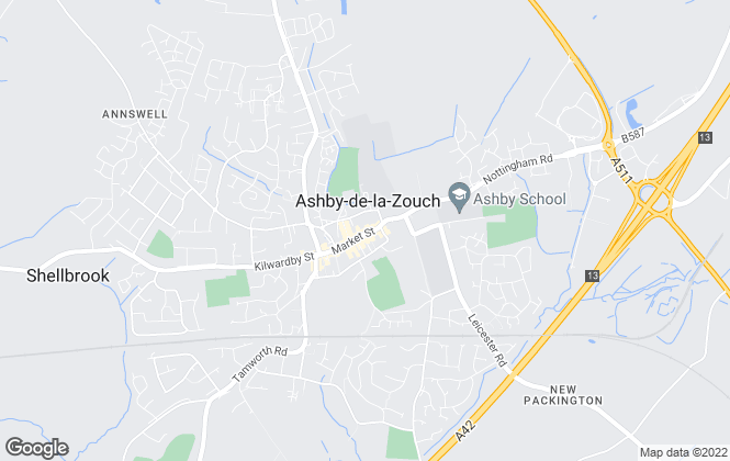 Map for John German, Ashby de la Zouch