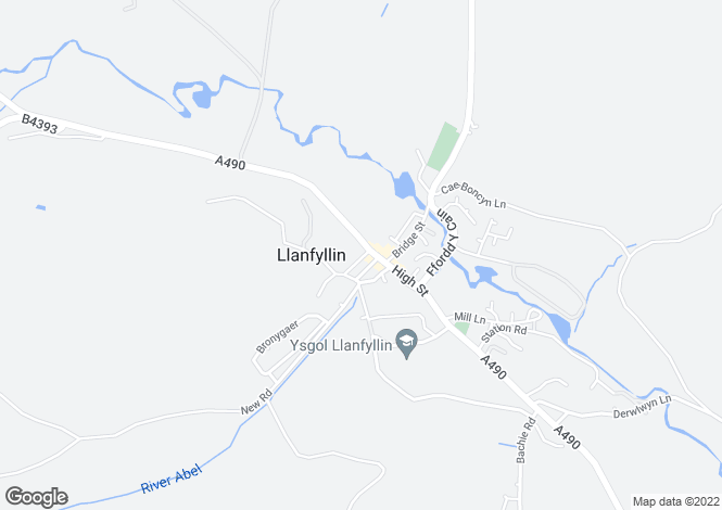 Map for High Street, Llanfyllin