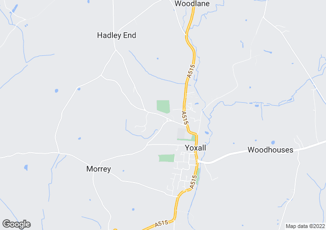 Map for Hadley Street, Yoxall, BURTON-ON-TRENT, Staffordshire
