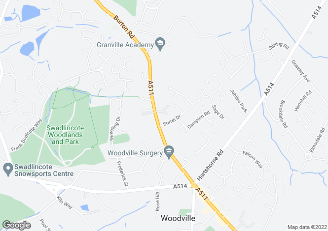 Map for Wood Farm Lane, Woodville, Swadlincote