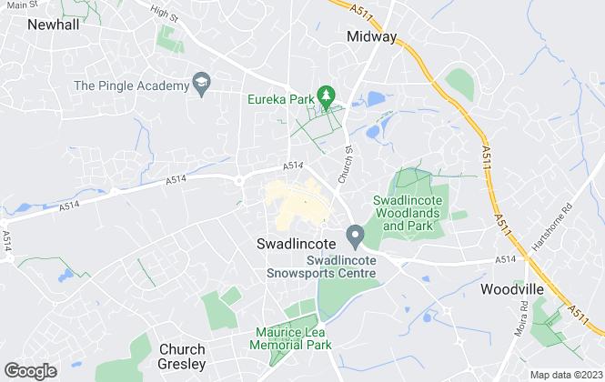 Map for Cadley Cauldwell Ltd, Swadlincote