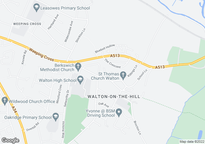 Map for Village Gardens, Walton on The Hill, Stafford ST17 0LL