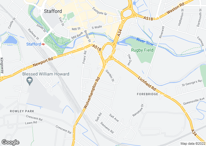 Map for Wolverhampton Road, Stafford, Staffordshire