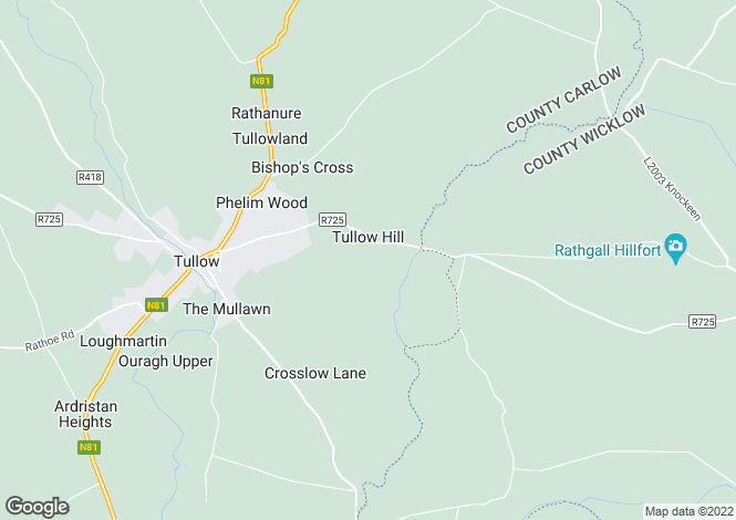 Map for The Willows, Shillelagh Road, Tullow, Carlow