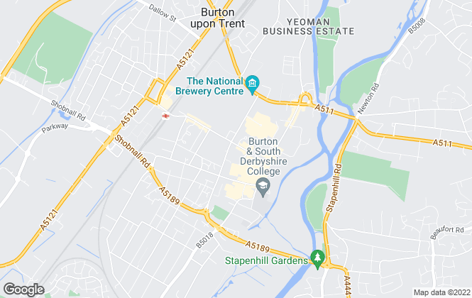 Map for Newton Fallowell, Burton on Trent