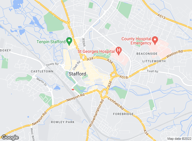 Map for Martin & Co, Stafford - Lettings & Sales