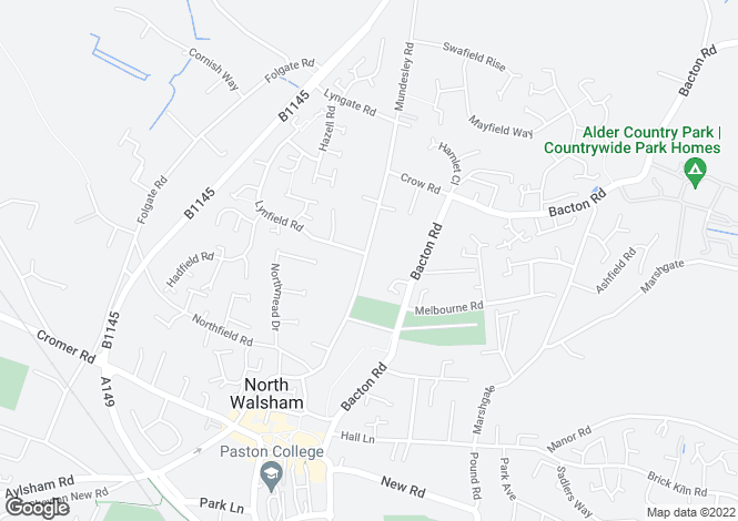 Map for Mundesley Road, North Walsham, NR28