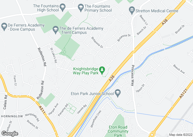 Map for Knightsbridge Way  Stretton  Burton On Trent