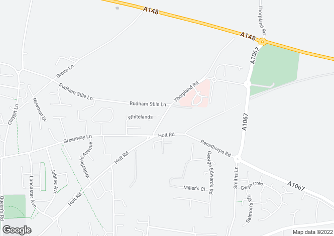Map for Thorpland Road, Fakenham