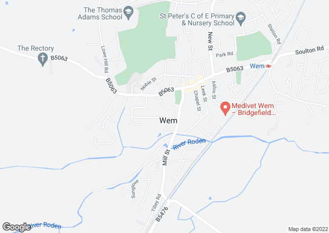 Map for Brela, Off Barnard Street, Wem, Shropshire