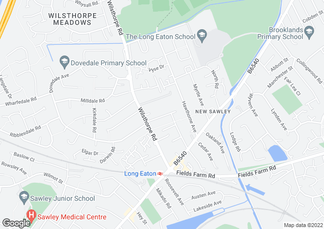 Map for Berkeley Avenue, Long Eaton NG10 3JY