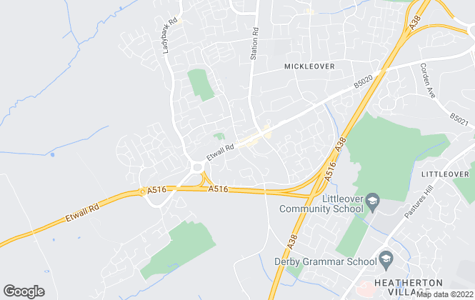 Map for Hannells Estate Agents, Mickleover